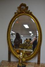 Antique French oval mirror, approx 130cm H x 100cm W