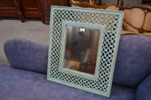 Carved painted wooden mirror, approx 62cm H x 55cm W