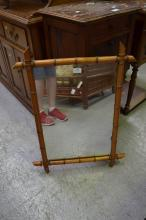 Antique French faux bamboo mirror, approx 54cm x 73cm