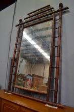 Large antique French faux bamboo mirror, approx 211cm x 156cm