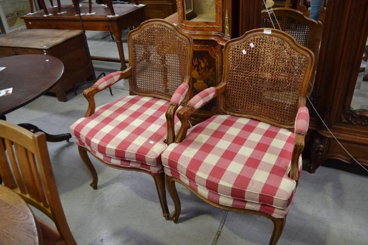 Pair of red and white chequered upholstered chairs 2 for Red and white upholstered chairs
