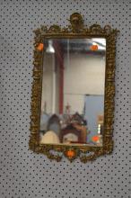 French gilt cast bronze mirror