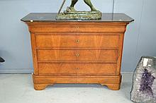 Antique French Louis Philippe walnut four drawer