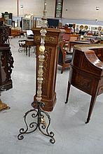 Vintage French wrought iron and glass standard