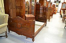 Antique French Henri II walnut bed, approx 189cm L