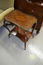 Fine antique two tiered inlaid occasional table,