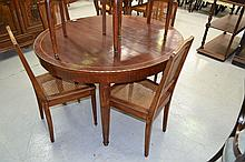French dining table, with inlay and brass, approx