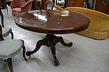 Antique mahogany oval snap top dining table,