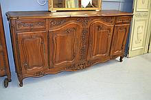 French Louis XV style walnut four door enfilade,
