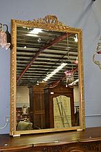 Antique French gilt surround mantle mirror, approx