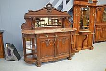 Antique French carved oak breakfront sideboard,