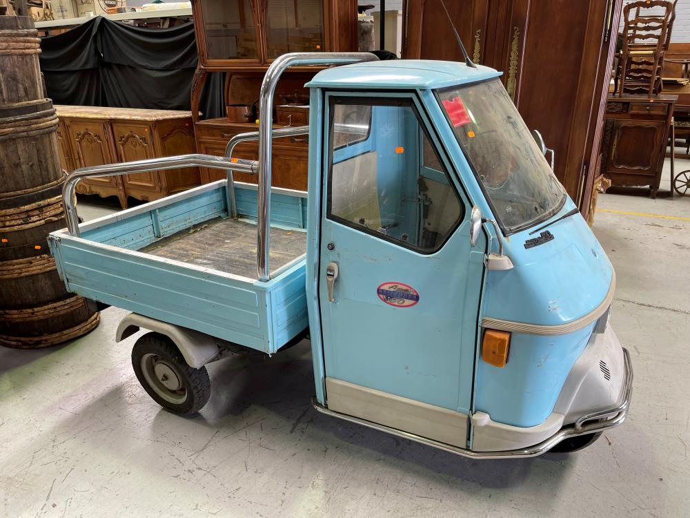 Italian Piaggio Ape 50 4540z in blue, 50 cc, circa 1996, unknown working order and sold as is. Not registered. Great display piece. Approx 246cm L x 122cm W x 160cm H