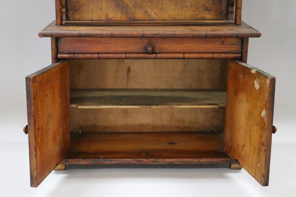 Antique French miniature faux bamboo two height buffet hutch, two doors below and faux drawer, behind the attached architectural pediment a barometer is attached, approx 55cm H x 31cm W x 13.5cm D