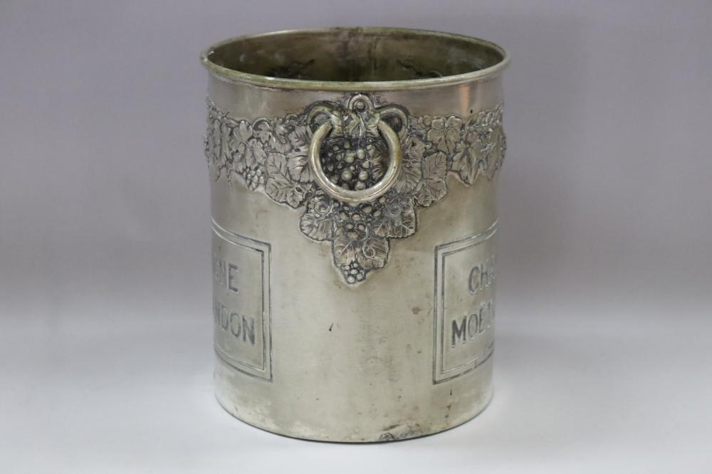 Old French Moet & Chandon Champagne bucket, double sided, grape & vine decoration, with twin handles, approx 20cm H x 17cm dia (excluding handle)