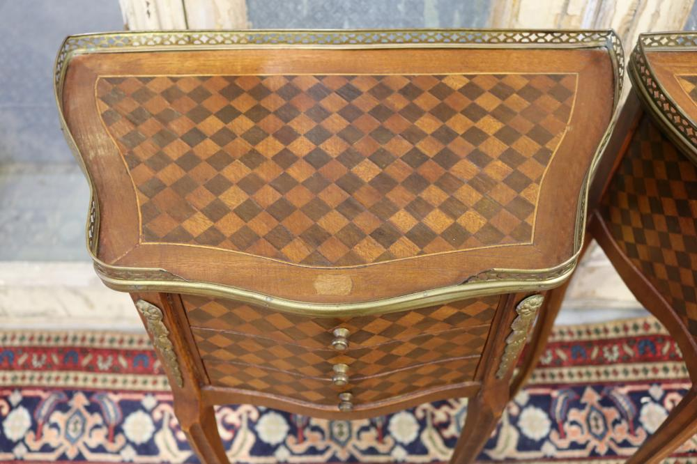 Pair of quality French Louis XV style parquetry nightstands with brass gallery, unique checkered work, each approx 71cm H x 46cm W x 26cm D (2)