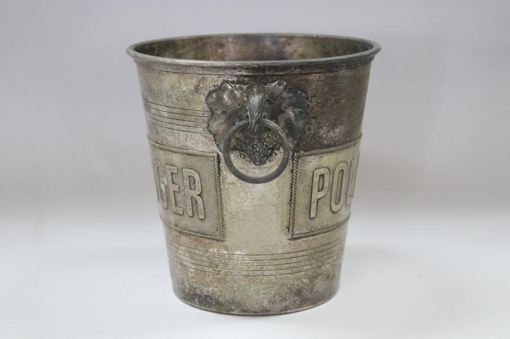 Old French Pol Roger champagne bucket, double sided, approx 20cm H x 20cm dia (excluding handles)