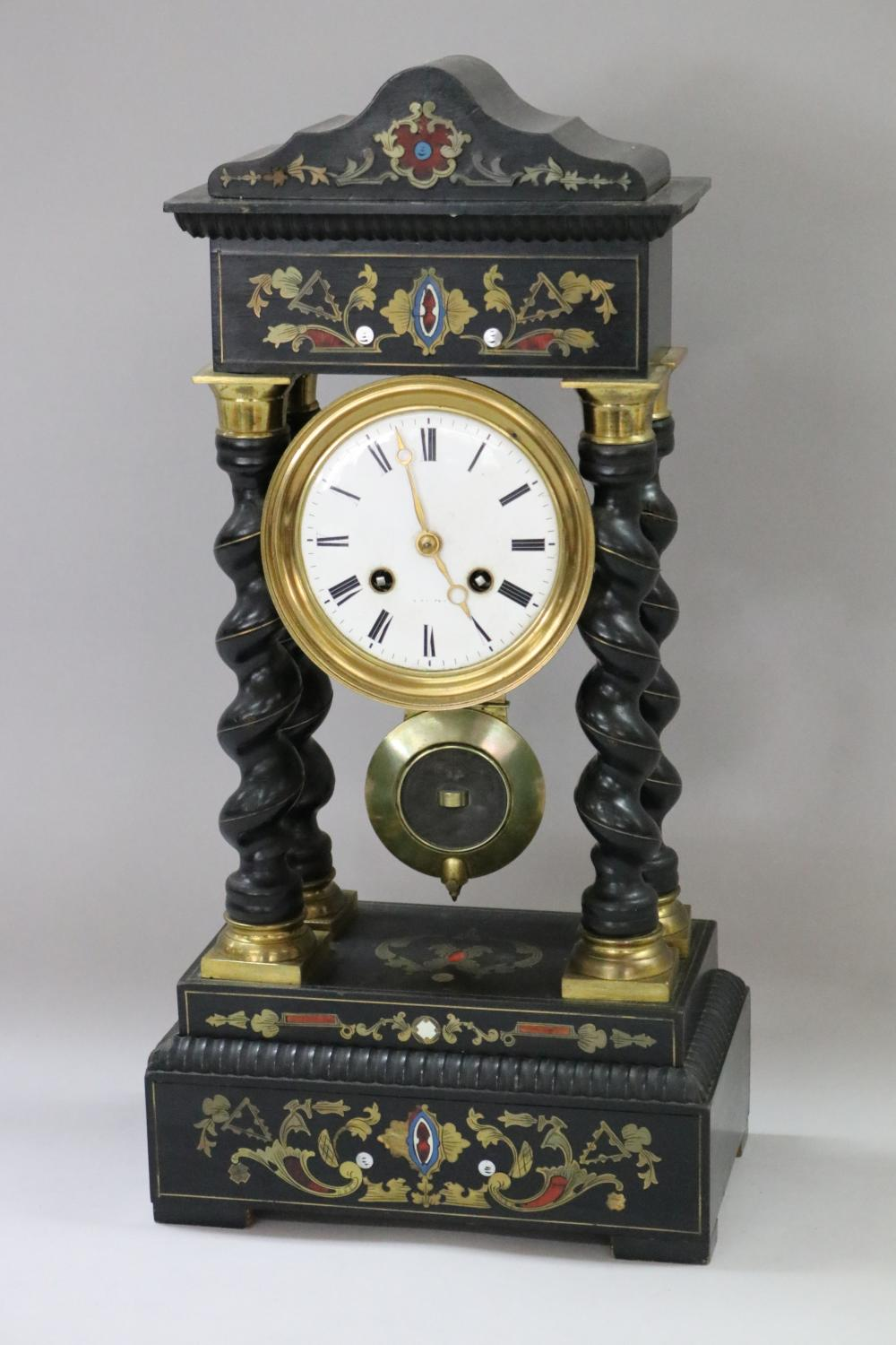 Antique French Napoleon III portico mantle clock, brass, mother of pearl & other inlay decorated, has key & pendulum, approx 45cm H x 22cm W x 13cm D