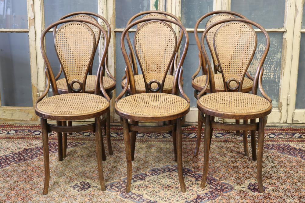 Set of six French Thonet style bentwood bistro chairs, with cane seats & backs, each approx 91cm H (6)