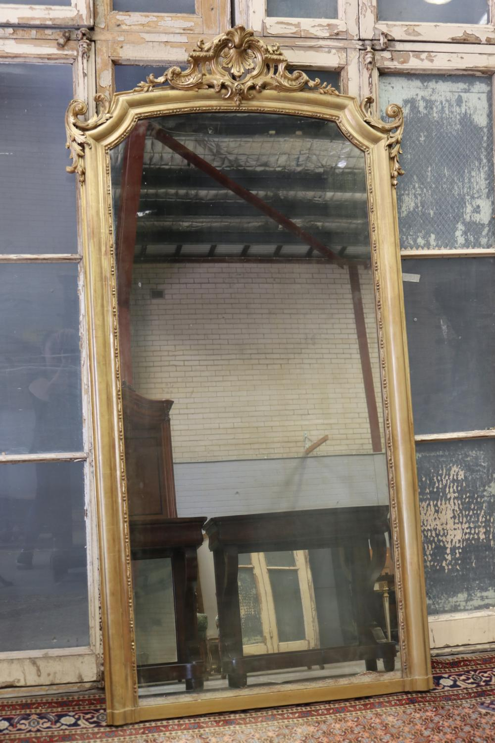 Antique French Louis XV style gilt frame mantle mirror, moulded crest decoration to top, approx 212cm H x 108cm W