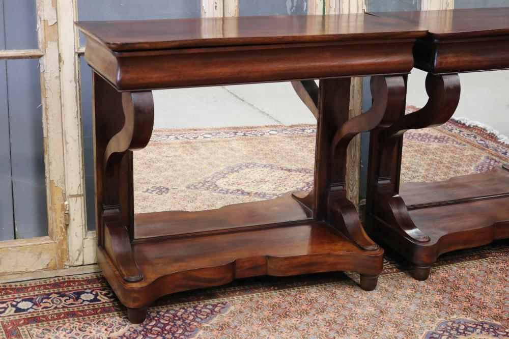 Pair of good quality French Louis Philippe revival consoles with mirrored backs, each approx 88cm H x 99cm W x 43cm D (2)