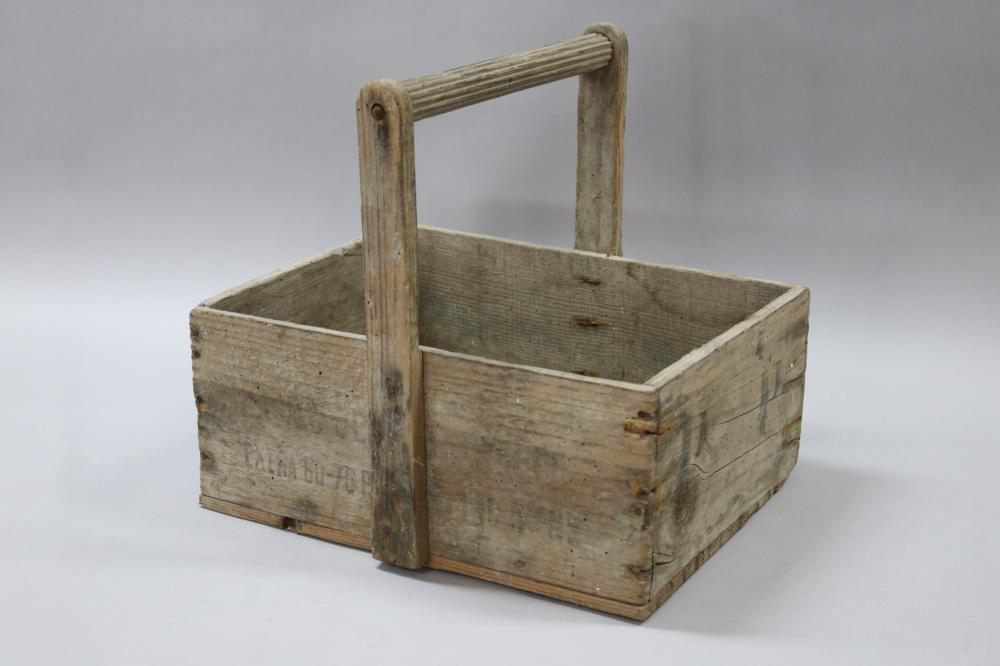 Vintage French wooden box made into basket, approx 30cm H (including handle) x 33cm W x 27cm D