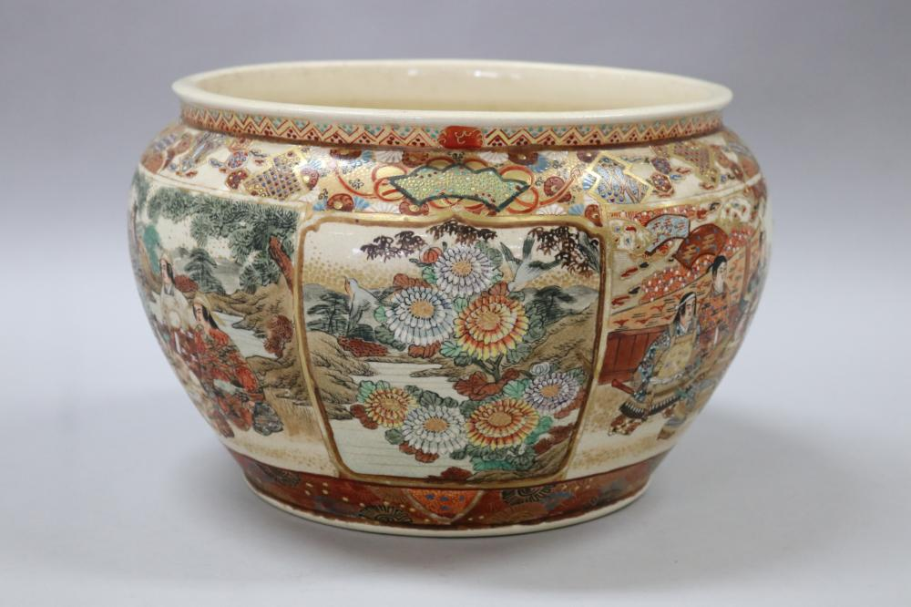Antique Japanese Satsuma jardiniere, decorated with figures, birds & flowers. Signed to base, approx 18cm H x 30cm dia