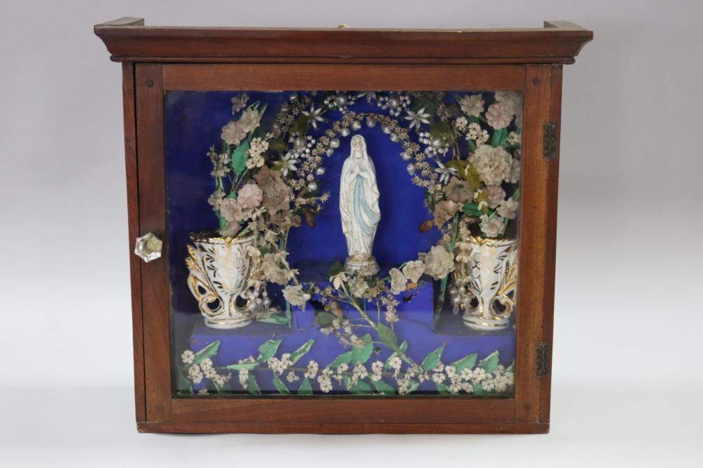 Antique French Religious showcase, contents to include two marriages vases & figure of Mary, approx 43cm H x 49cm W x 17.5cm D