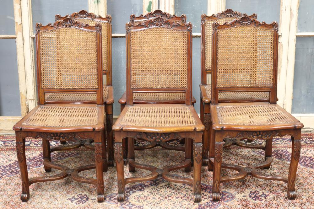 Set of six antique French Louis XV style dining chairs, with cane seats & backs, carved legs & backs, each approx 95cm H x 48cm W x 43cm D (6)