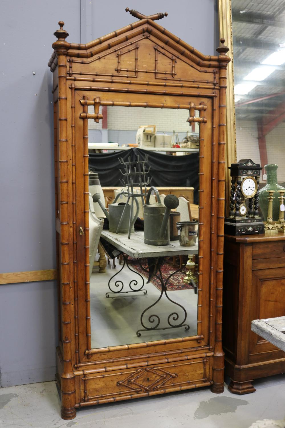 Antique French faux bamboo single door & drawer armoire, well carved faux bamboo work, approx 279cm H x 107cm W x 47cm D