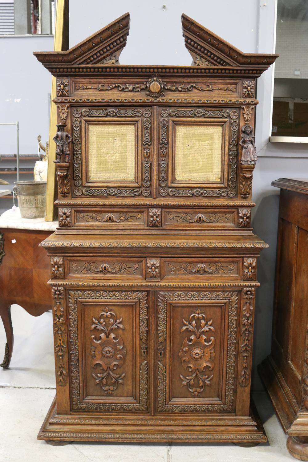 Antique French Renaissance revival buffet a deux corps, needlework panels of mythical beasts, heavily carved, approx 174cm H x 97cm W x 47cm D