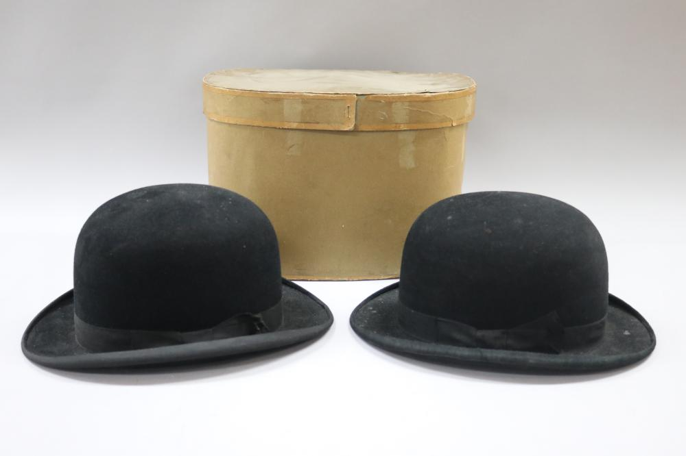 Two antique French bowler hats with original cardboard retail box, box approx 22cm H x 34cm W x 28cm D (3)