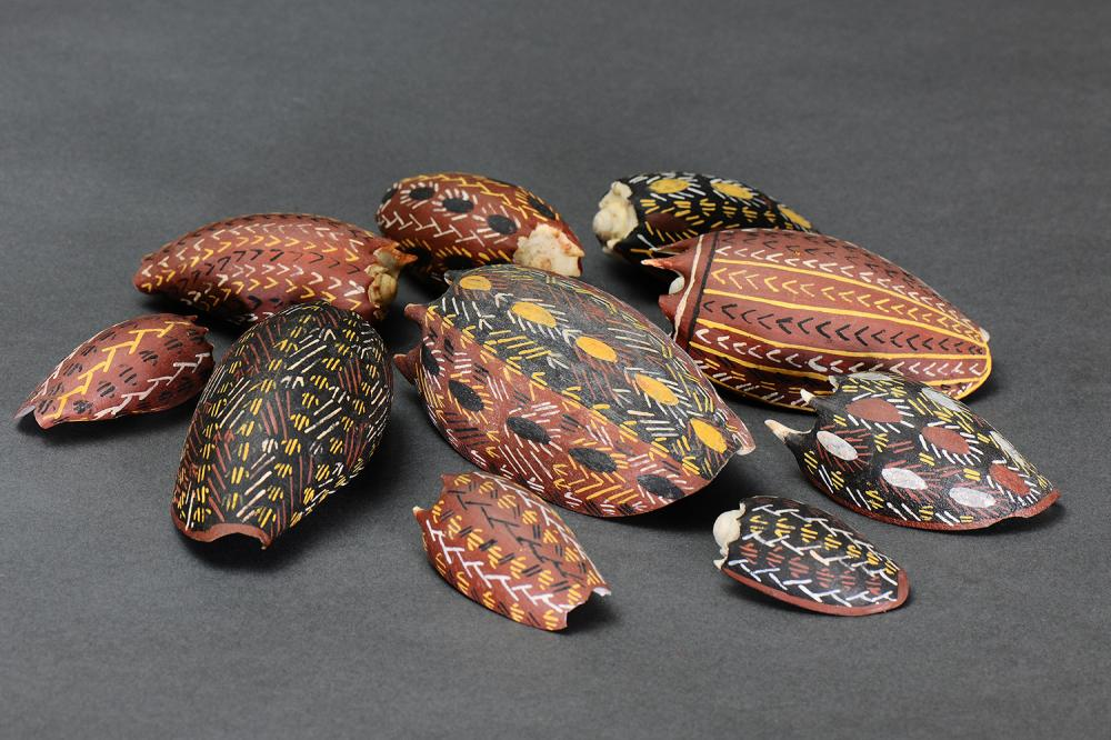 A COLLECTION OF TEN PAINTED BAILER SHELLS, BARTALUMBA BAY, GROOTE EYLANDT, NORTHERN TERRITORY
