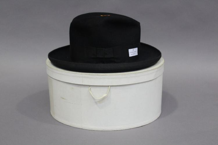 French bowler hat and original box, By appointment of the late King Edward VII, approx 32cm L