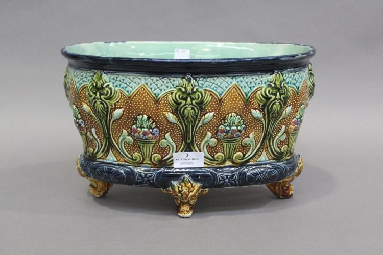 Antique French majolica jardiniere, approx 21cm H x 34cm L x 22cm D