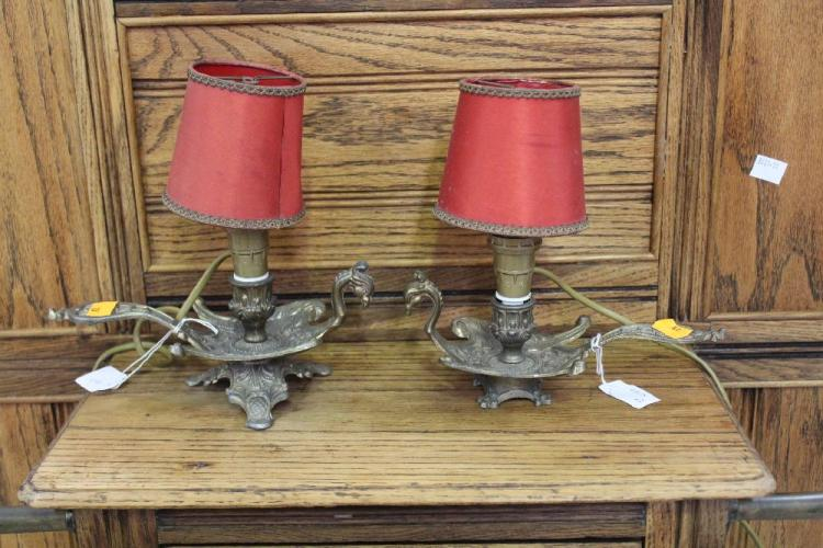 Pair of french chamber sticks converted into lamps approx 2 for French chamber