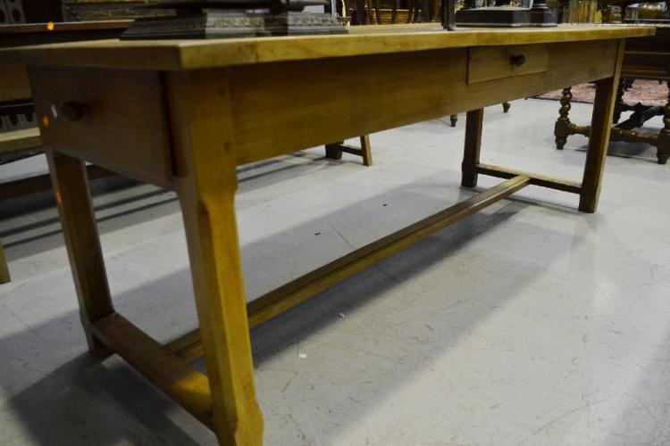 Antique french cherrywood farmhouse table fitted with two d for 65 farmhouse table