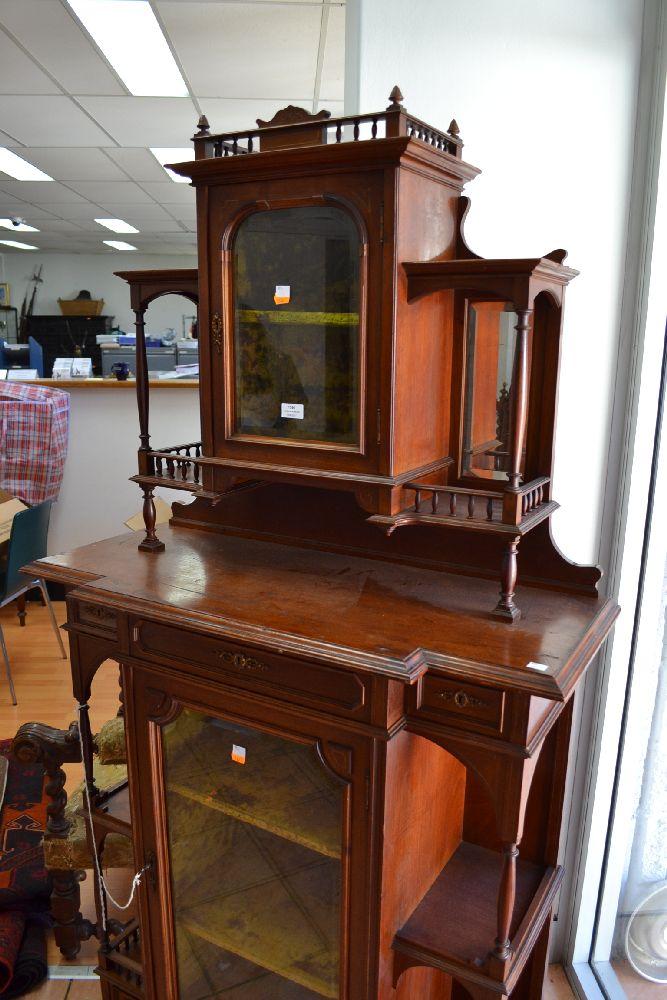 Antique French Carved Walnut Salon Cabinet With Velvet Line