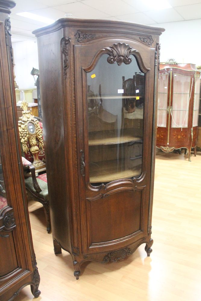 Antique French Carved Oak Louis Xv Style Single Door Display