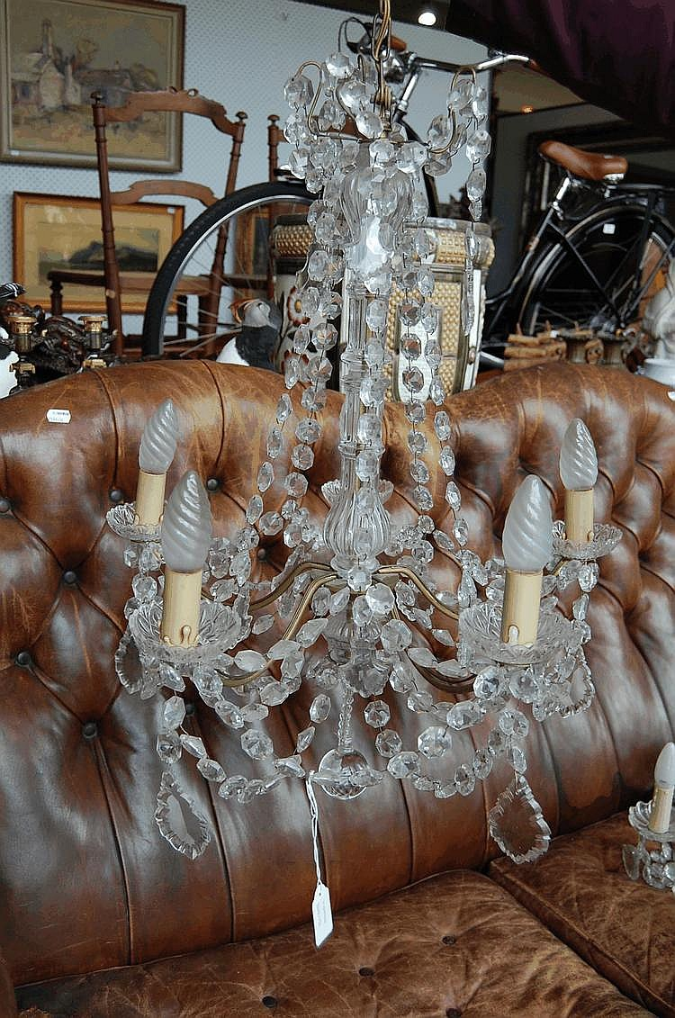 French Five Light Crystal Chandelier
