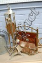 French copper  brass fire mantle set