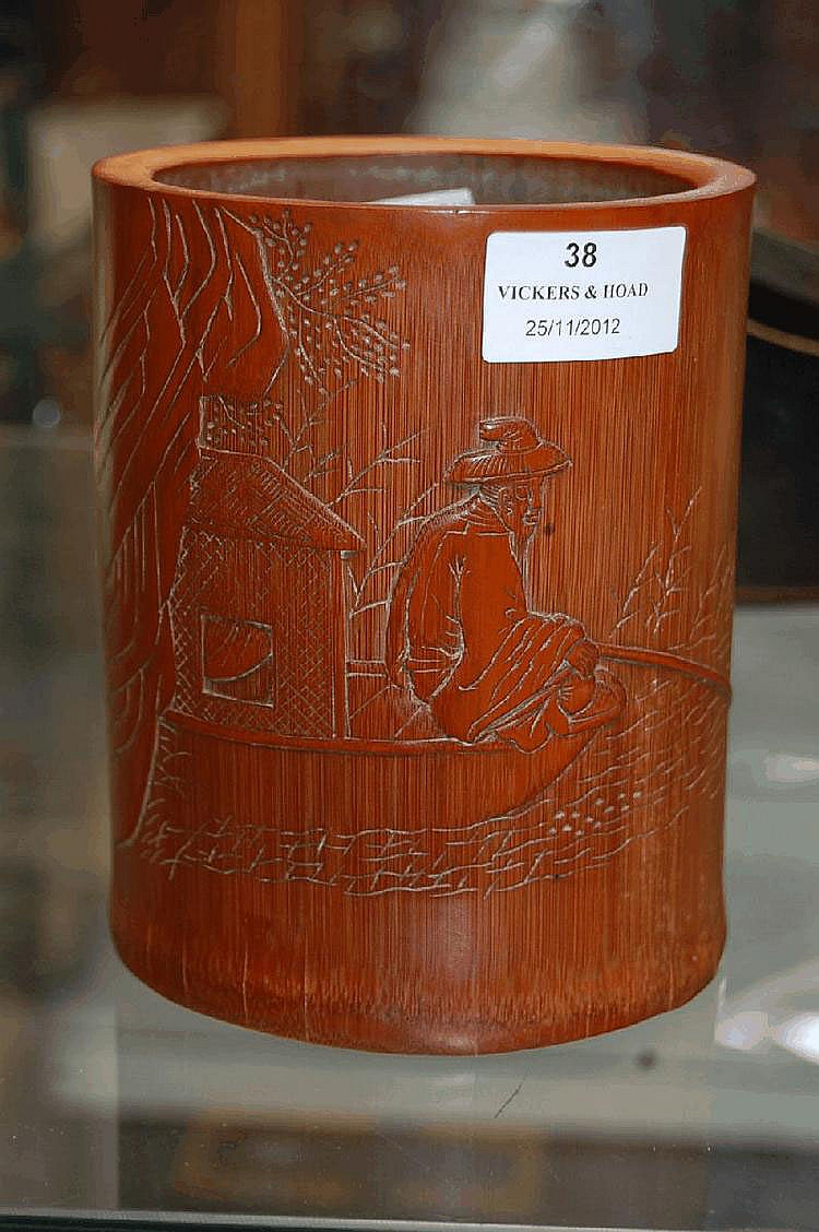 Chinese carved bamboo brush pot carved in low