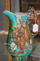 Antique Majolica hunting jug, 25.5 cm high