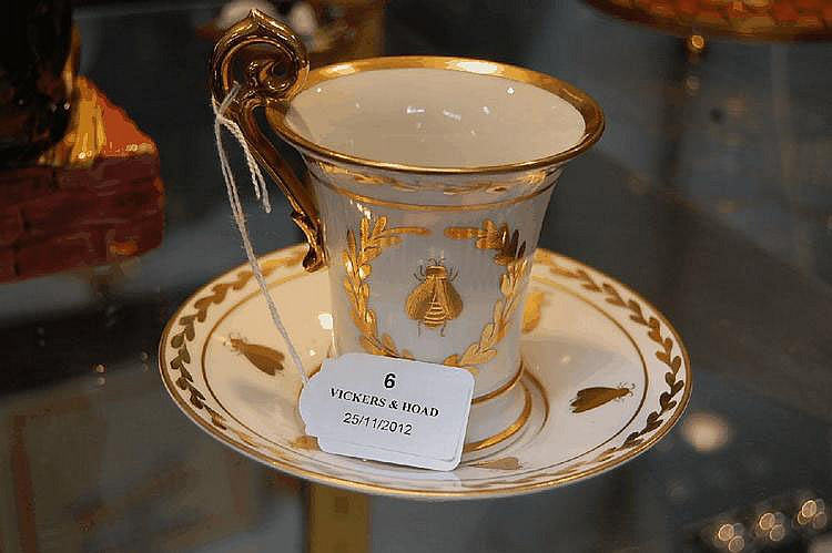 Antique French Empire style cup and saucer
