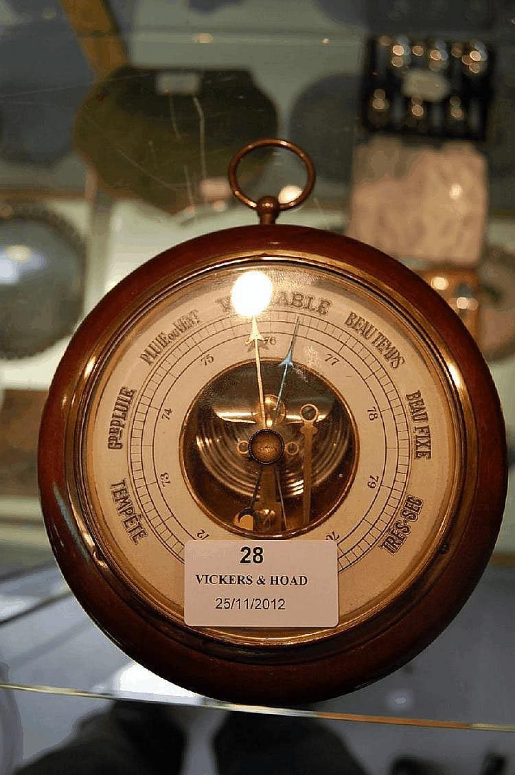 French circular wooden frame wall barometer