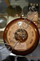 French circular wooden frame wall barometer