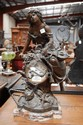 Antique French mantle clock, bronzed spelter