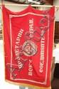 Soviet Union communist red silk standard and pole