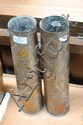 Pair of French WWI trench art vases (2)