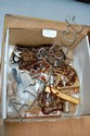 Box of vintage hair clips, lipstick holders etc