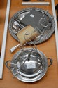 Selection of plated wares, tray, crumb brush,